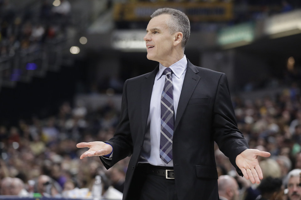 Photo - Oklahoma City Thunder head coach Billy Donovan questions a call during the first half of an NBA basketball game against the Indiana Pacers, Thursday, March 14, 2019, in Indianapolis. (AP Photo/Darron Cummings)