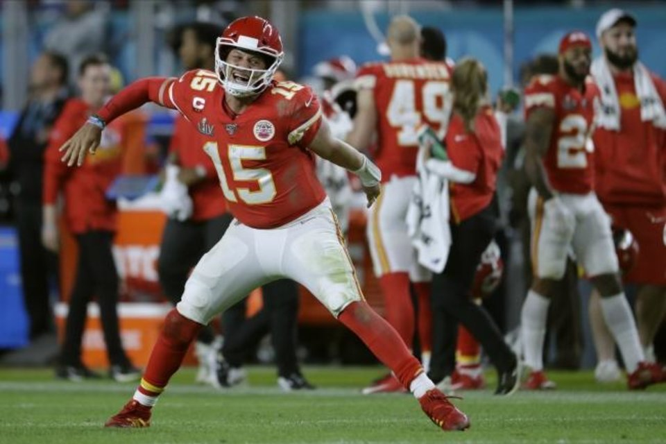 Photo -  Kansas City Chiefs' quarterback Patrick Mahomes celebrates his touchdown pass to  Damien Williams in the the second half of the NFL Super Bowl 54 football game Sunday, Feb. 2, 2020, in Miami Gardens, Fla. (AP Photo/John Bazemore)