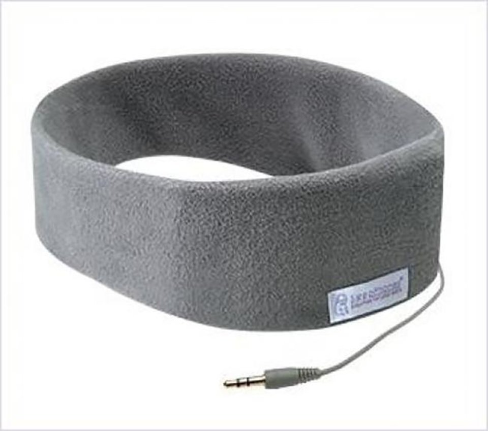 Photo -  SleepPhone is a soft headband of fleece or wicking fabric that includes two flat speakers built in. [SleepPhones.com]