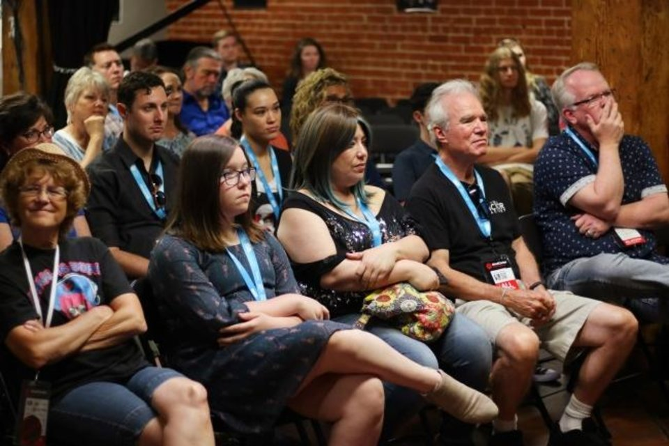 Photo -  Attendees listen as Nathan Poppe questions Ryan Merriman, winner of one of the 2018 Oklahoma Film Icon awards, at a 2018 deadCenter Film Festival Panel hosted by the Oklahoma Film + Music Office. [Doug Hoke/The Oklahoman Archives]