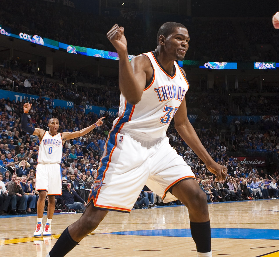 c9789170883 Oklahoma City s Kevin Durant reacts during the NBA basketball game between  the Oklahoma City Thunder and the Chicago Bulls in the Oklahoma City Arena  on ...