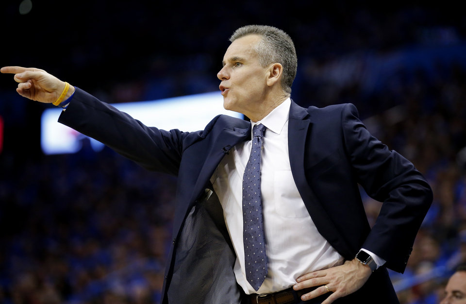 Photo - Oklahoma City coach Billy Donovan coaches during Game 4 in the first round of the NBA playoffs between the Portland Trail Blazers and the Oklahoma City Thunder at Chesapeake Energy Arena in Oklahoma City, Sunday, April 21, 2019. Portland won 111-98. Photo by Sarah Phipps, The Oklahoman