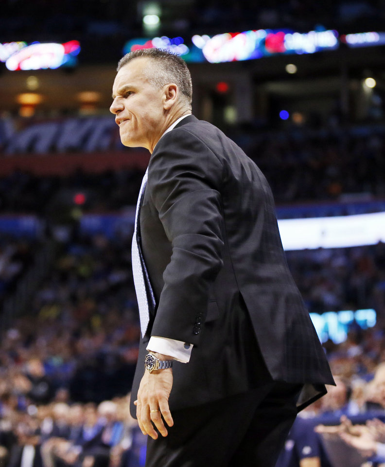 Photo - Thunder coach Billy Donovan yells at an official that a foul should have been called during an NBA basketball game between the Oklahoma City Thunder and San Antonio Spurs at Chesapeake Energy Arena in Oklahoma City, Friday, March 31, 2017. San Antonio won 100-95. Photo by Nate Billings, The Oklahoman