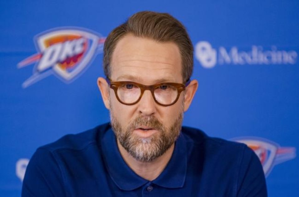 Photo -  Thunder general manager Sam Presti is big on optimizing the roster for the 2019-20 season. [Chris Landsberger/The Oklahoman]