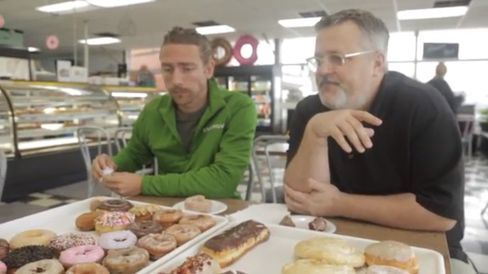 Photo - Energy FC striker Andy Craven joined the Food Dude to seek out OKC's tastiest doughnuts.