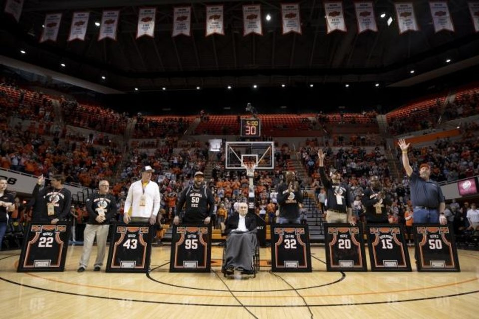 Photo -  The 1995 Oklahoma State Final Four basketball team is honored at halftime during an NCAA college basketball game between Oklahoma State and Texas Tech in Stillwater, Okla., Saturday, Feb. 15, 2020. (AP Photo/Mitch Alcala)