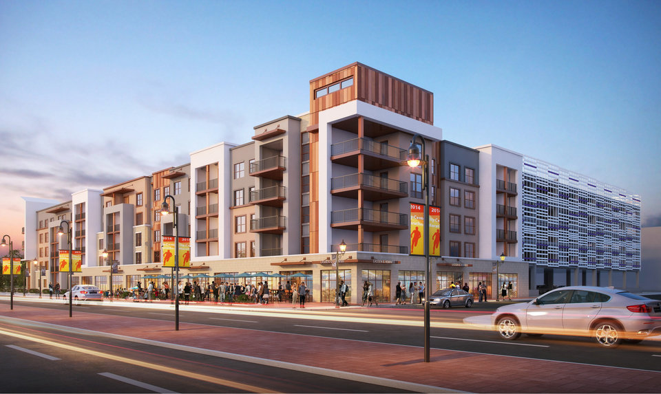 Photo -  A five-story mix of apartments, retail and a daycare is proposed by Carleton Residential Development. [Design by BGO Architects]