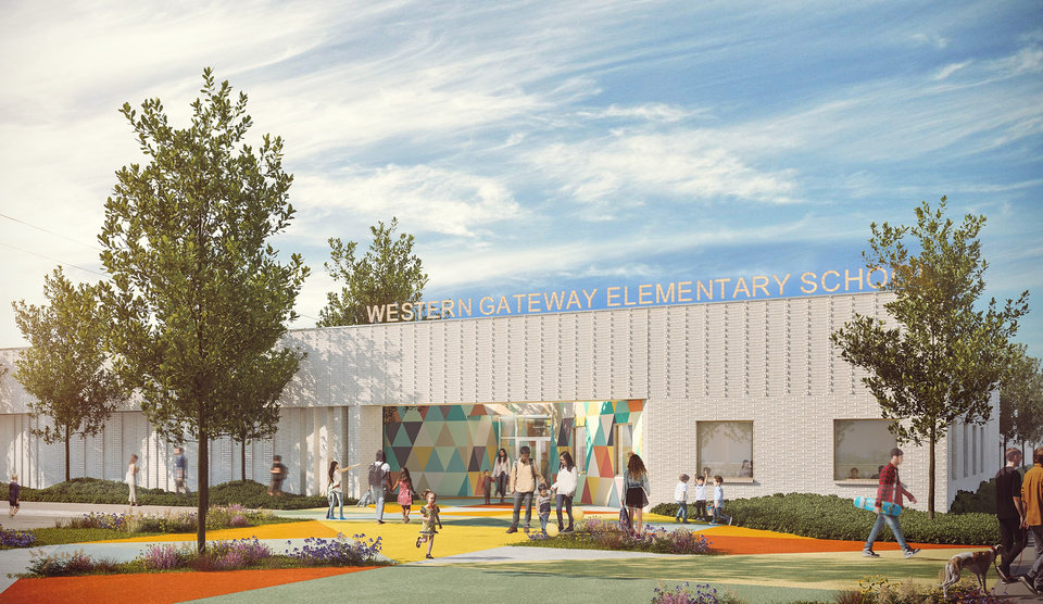 Photo -  The entrance to Western Gateway Elementary will face Douglas Avenue and SW 15 Street, the first connection between older working class neighborhoods to the west and the new urbanist Wheeler District emerging to the east at the old Downtown Airpark. [RENDERING BY ALLFORD HALL MONAGHAN MORRIS]