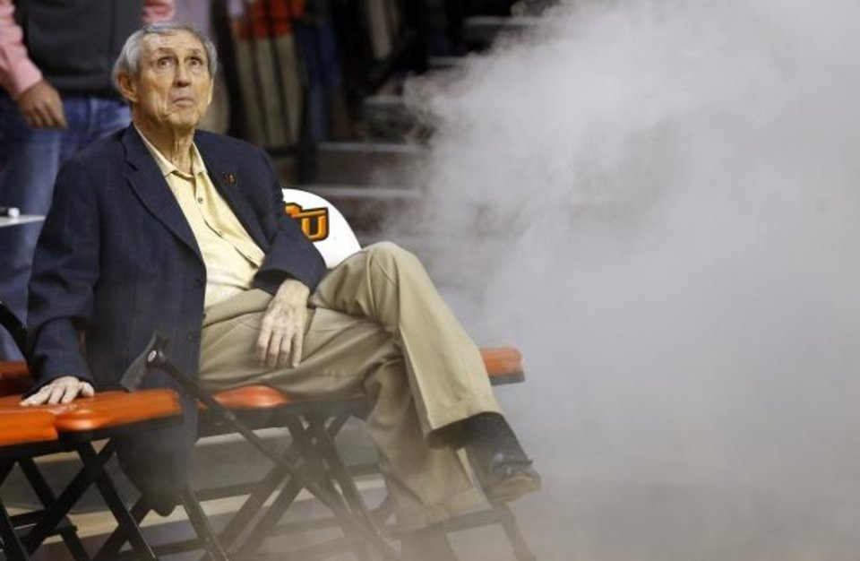 Photo -  Former OSU coach Eddie Sutton waits for his 1995 Final Four team to be introduced during halftime of a 2015 game at Gallagher-Iba Arena. [Sarah Phipps/The Oklahoman]