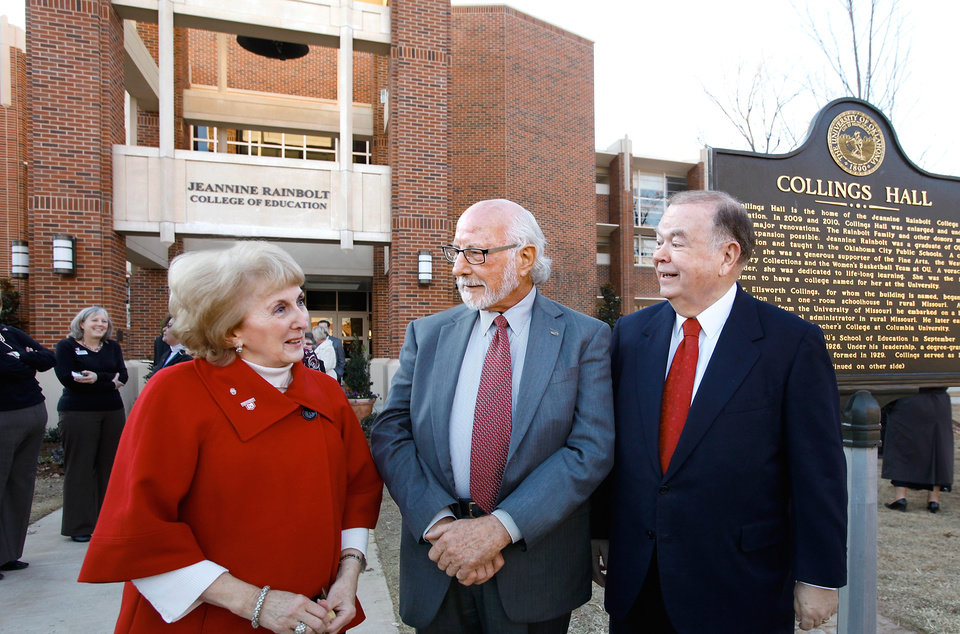 Photo - DEDICATE / DEDICATION: From left, Sandra O'Brien, Gene Rainbolt and OU President David Boren.  A new functioning bell tower is named for Sandra O'Brien and her husband, Brian who provided the lead gift to the building's capital campaign.  It is designed as a modern day version of the  bell tower found at many old schoolhouses. The University Of Oklahoma's Jeannine Rainbolt College of Education is formally dedicated in a ceremony Monday afternoon, Dec. 6, 2010, on the university campus. The building underwent extensive remodeling and was reopened for classes this fall. to expand the facility was launched in 2006. The college is named for the late Jeannine Rainbolt, an OU education alumna. With the renaming of the building, it marks the first time in  OU's history for a college to be named for a woman. Her husband, Gene Rainbolt, attended the ceremony and participated with OU President David Boren in the ribbon cutting ceremony.   Photo by Jim Beckel, The Oklahoman ORG XMIT: KOD