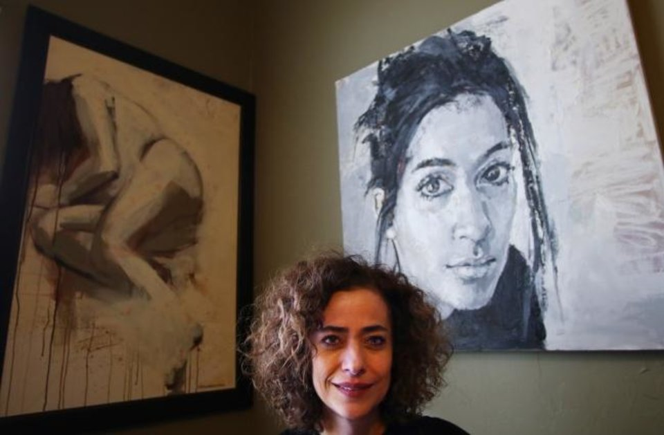 Photo -  Iranian-American artists Behnaz Sohrabian is seen in her Edmond home studio in  February.  [Doug Hoke/The Oklahoman Archives]