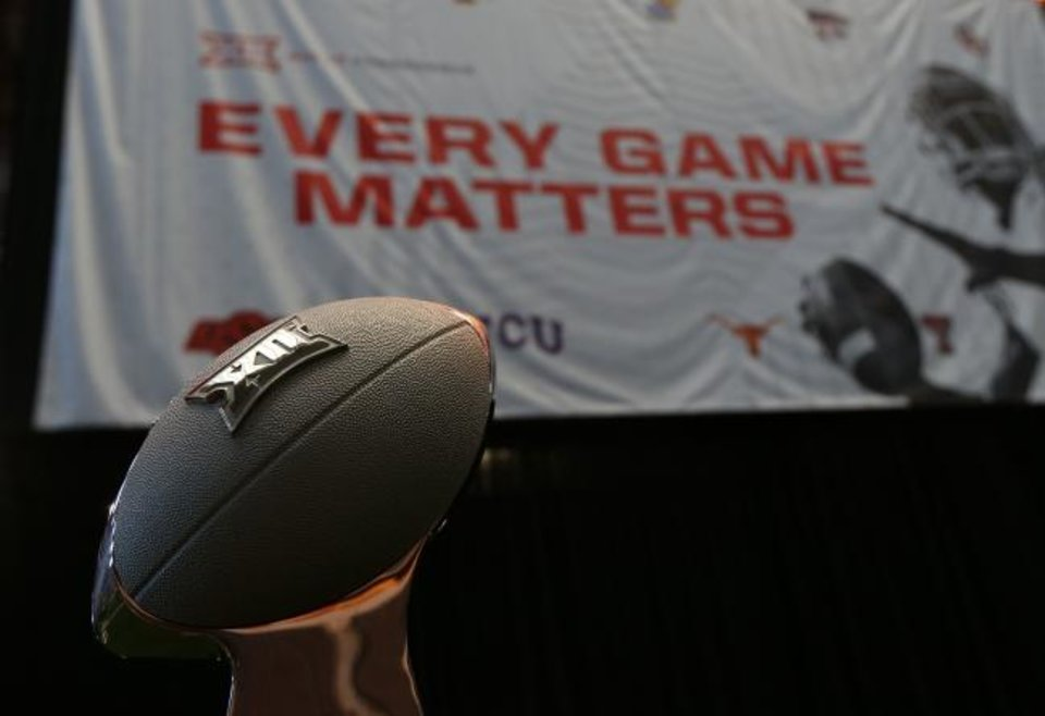 Photo -  Jul 15, 2019; Arlington, TX, USA; General view of the Big 12 championship trophy during Big 12 media days at AT&T Stadium. Mandatory Credit: Kevin Jairaj-USA TODAY Sports