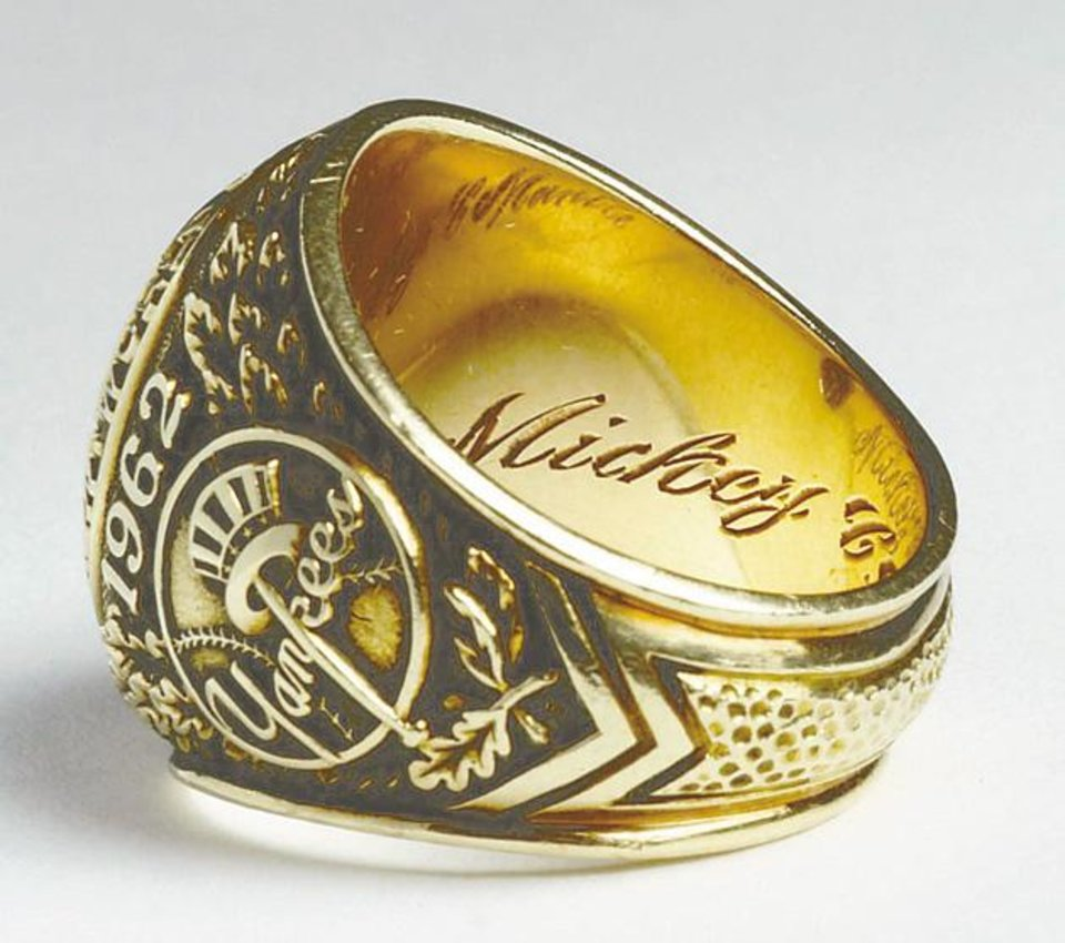 Photo - Mickey Mantle's 1962 New York Yankees World Series ring.