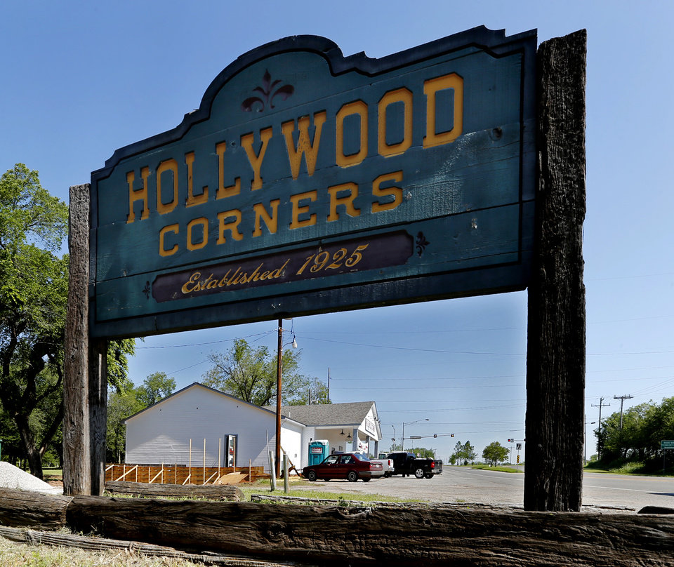 Photo - A sign for Hollywood Corners, 4712 N Porter Ave, is seen in Norman .  STEVE SISNEY -  THE OKLAHOMAN