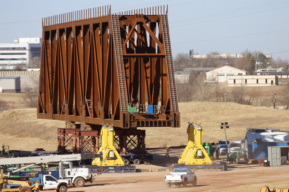 Photo - Preparation for the I-235 bridges to be moved this weekend continues Thursday, January 25, 2018. Photo by Doug Hoke, The Oklahoman