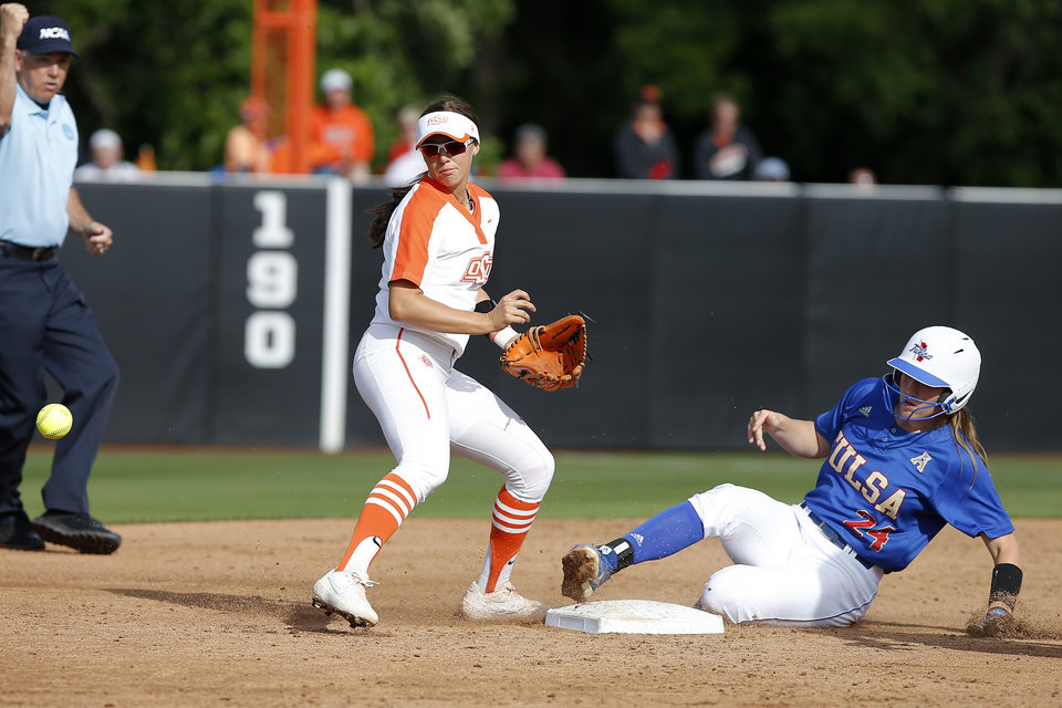 Photo - Oklahoma State's Madi Sue Montgomery (10) drops the ball after forcing out Tulsa's Celyna Shaw (24) at second base in the fourth inning of the Stillwater Regional NCAA softball tournament game between Oklahoma State University (OSU) and Tulsa in Stillwater, Okla., Saturday, May 18, 2019. Oklahoma State won 2-1. [Bryan Terry/The Oklahoman]