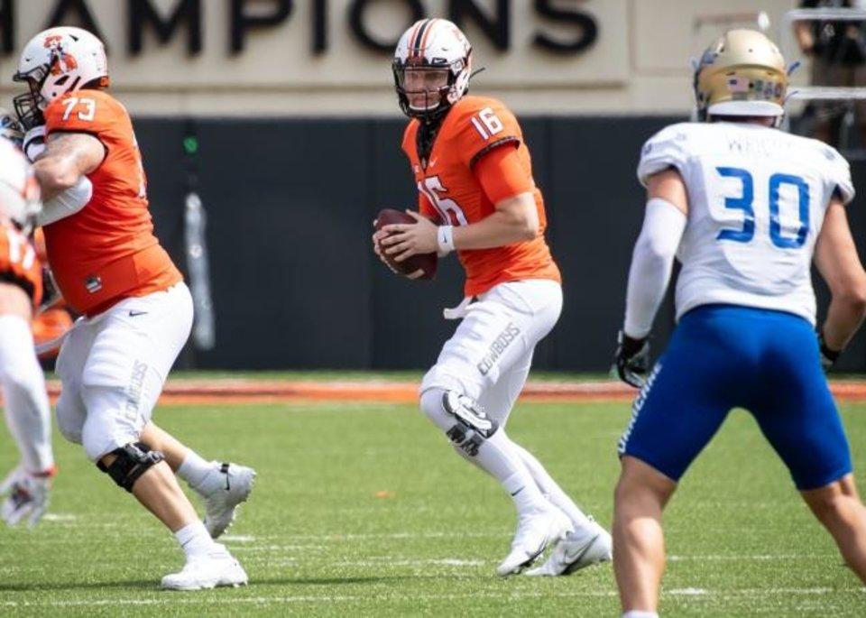 Photo -  Oklahoma State quarterback Shane Illingworth (16) looks downfield during a play Saturday in a 16-7 win against Tulsa at Boone Pickens Stadium in Stillwater. [Rob Ferguson/USA Today Sports]