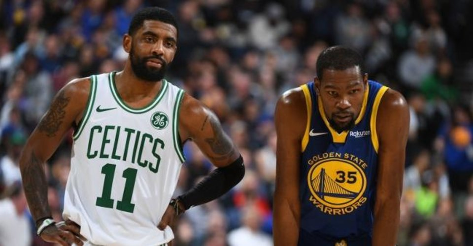 Photo -  Kyrie Irving, left, and Kevin Durant are two of the big names in free agency this summer in the NBA. With numerous superstars, the early days of free agency could be as wild as any in recent memory. [NBA VIA GETTY IMAGES]