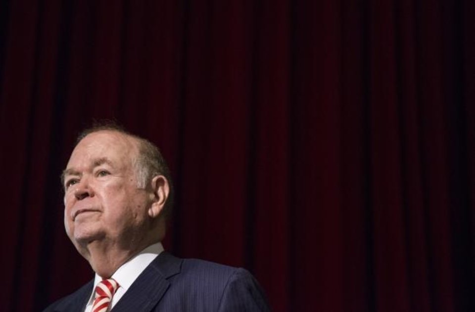 Photo -  Former University of Oklahoma president David Boren pauses during a press conference in 2017. A criminal investigation of Boren entered a new phase Wednesday when the state's multicounty grand jury heard from witnesses about Boren for the first time. [Chris Landsberger/The Oklahoman]
