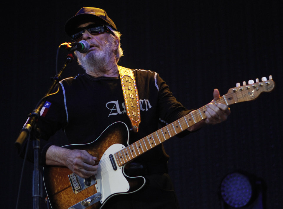 Photo -  Merle Haggard performs at OKC Fest in downtown Oklahoma City. [The Oklahoman Archives]