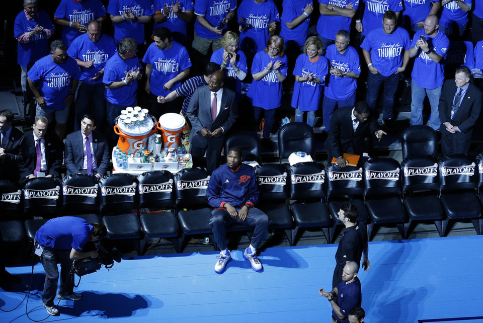 Photo - Oklahoma City's Kevin Durant (35) waits to be introduced before Game 5 of the first round series between the Oklahoma City Thunder and the Dallas Mavericks in the NBA playoffs at Chesapeake Energy Arena in Oklahoma City, Monday, April 25, 2016. Photo by Sarah Phipps, The Oklahoman