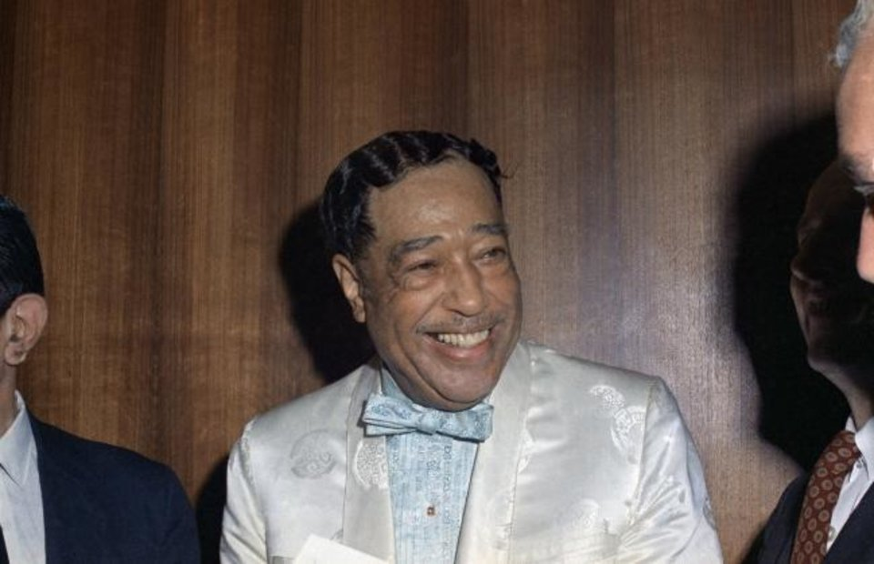 Photo -  Jazz musician Duke Ellington appears in 1968 at the Rainbow Grill reception, where he presented the original manuscript for his