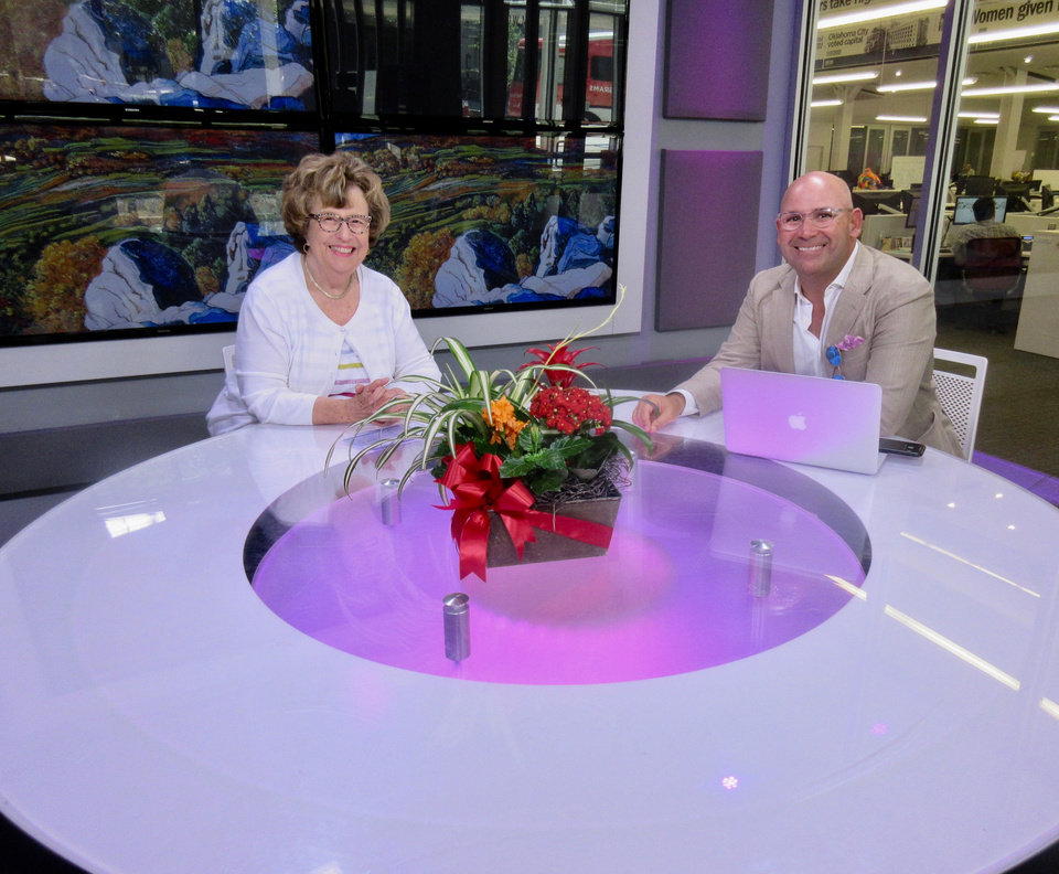 Photo -  Helen Ford Wallace and Patrick Kelly, co-owner JJ Kelly Bridal Salon, pose for a photo in The Oklahoman's video studio.