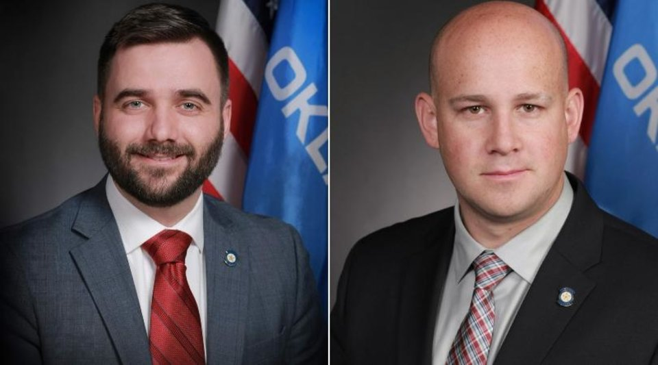 Photo - From left: State Sen. Nathan Dahm, R-Broken Arrow, and state Sen. Joseph Silk, R-Broken Bow