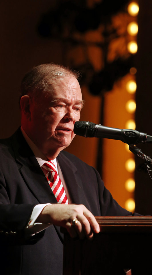 Photo - University of Oklahoma president David L. Boren holds a press conference regarding a fraternity video showing racist comments on March 9, 2015 in Norman, Okla. Photo by Steve Sisney, The Oklahoman