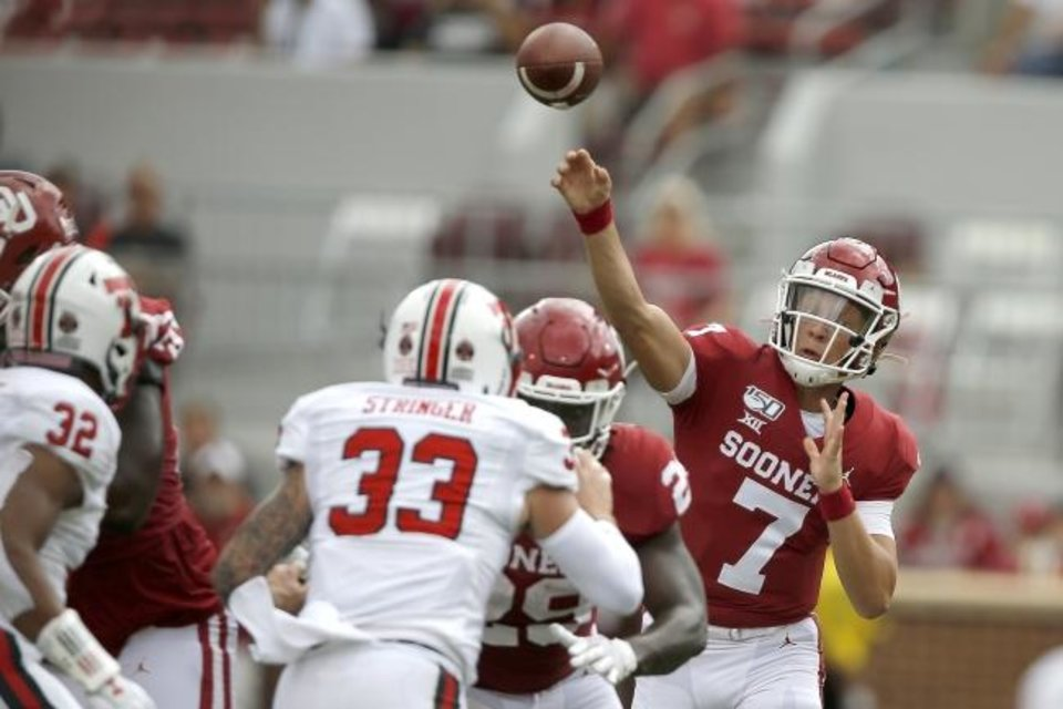Photo -  Spencer Rattler (7) is the presumptive favorite to follow Jalen Hurts as OU's starting quarterback in 2020. However, Tanner Mordecai will also be in the mix. [Bryan Terry/The Oklahoman]