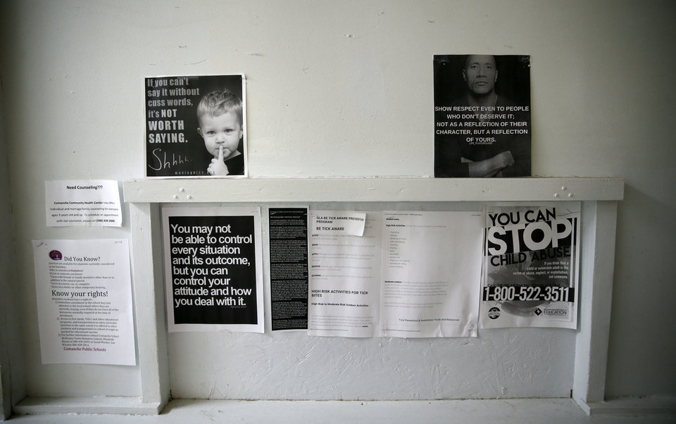 Photo - Notices and fliers at FAME Academy, an alternative school in Comanche Public Schools, in Meridian, Okla., Wednesday, Oct. 3, 2018. Photo by Nate Billings, The Oklahoman