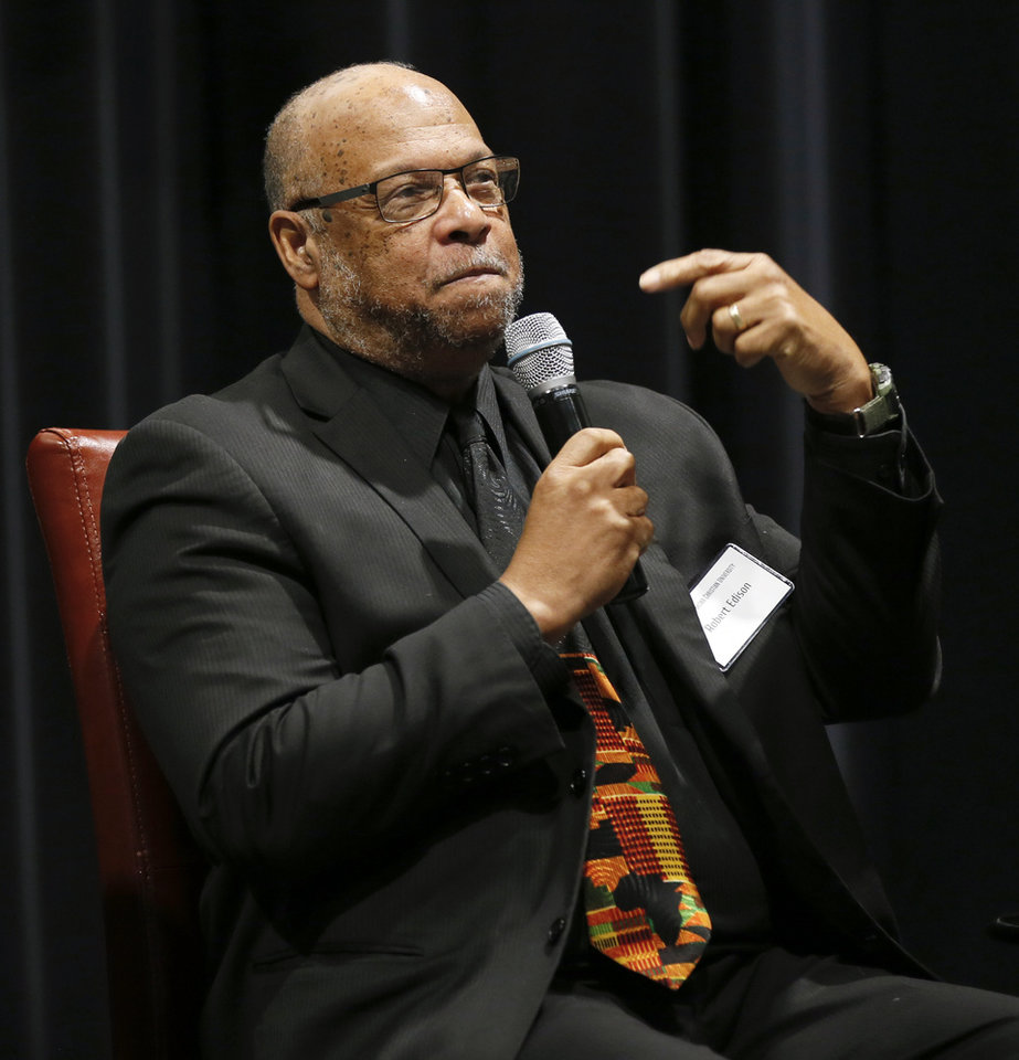 Photo - Robert Edison speaks during a panel discussion of former students who were expelled from then Oklahoma Christian College and arrested in 1969 after the Benson Hall sit-in to protest the expulsion of black basketball players who were accused of attending an interracial gathering off campus, at Oklahoma Christian University's Judd Theatre in Oklahoma City, Wednesday, March 6, 2019. Edison is one of what OC calls Oklahoma Christian's 18. Photo by Nate Billings, The Oklahoman