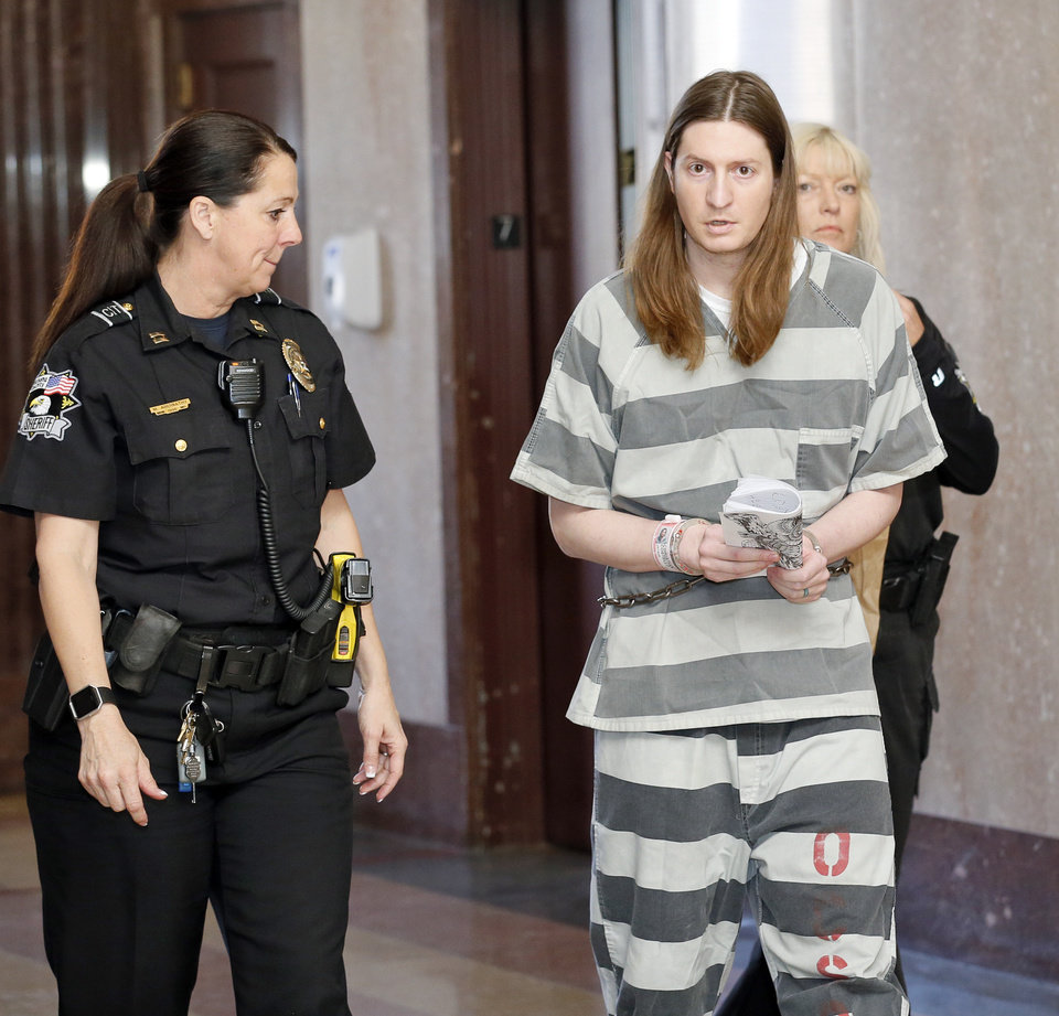 Photo -  Christian Costello appears in court in April. [Photo by Nate Billings, The Oklahoman Archives]