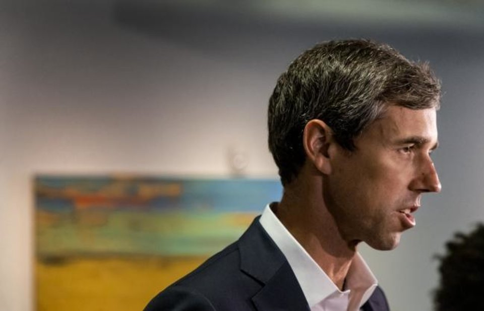 Photo -  Democratic Presidential candidate Beto O'Rourke speaks to the media during a visit to the Oklahoma City National Memorial & Museum in Oklahoma City, Okla. on Monday, Aug. 19, 2019.  [Chris Landsberger/The Oklahoman]