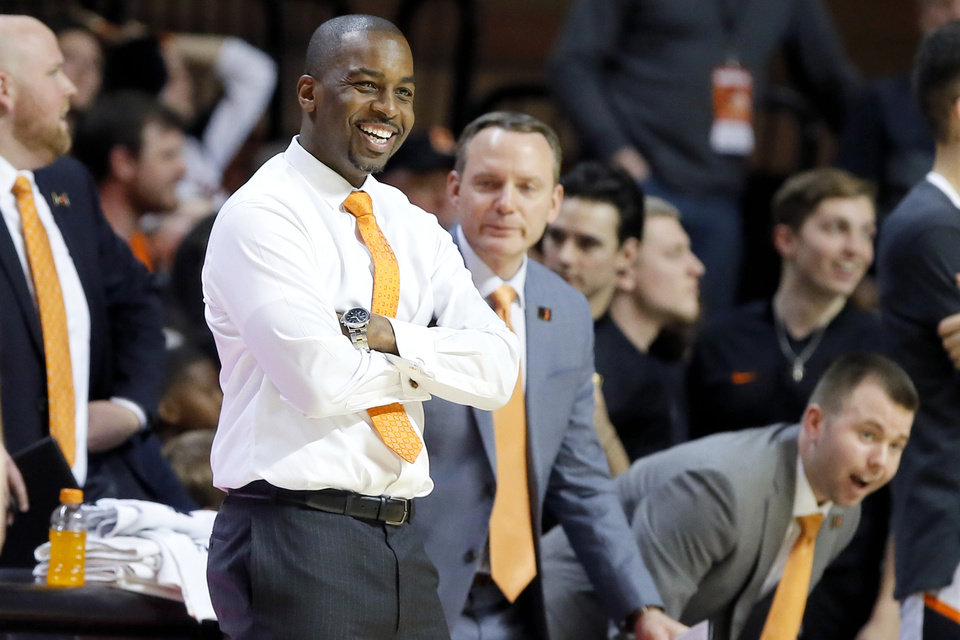 Photo - Oklahoma State coach Mike Boynton smiles during a NCAA basketball game between the Oklahoma State Cowboys (OSU) and the University of South Carolina at Gallagher-Iba Arena in Stillwater, Okla., Saturday, Jan. 26, 2019. Photo by Bryan Terry, The Oklahoman