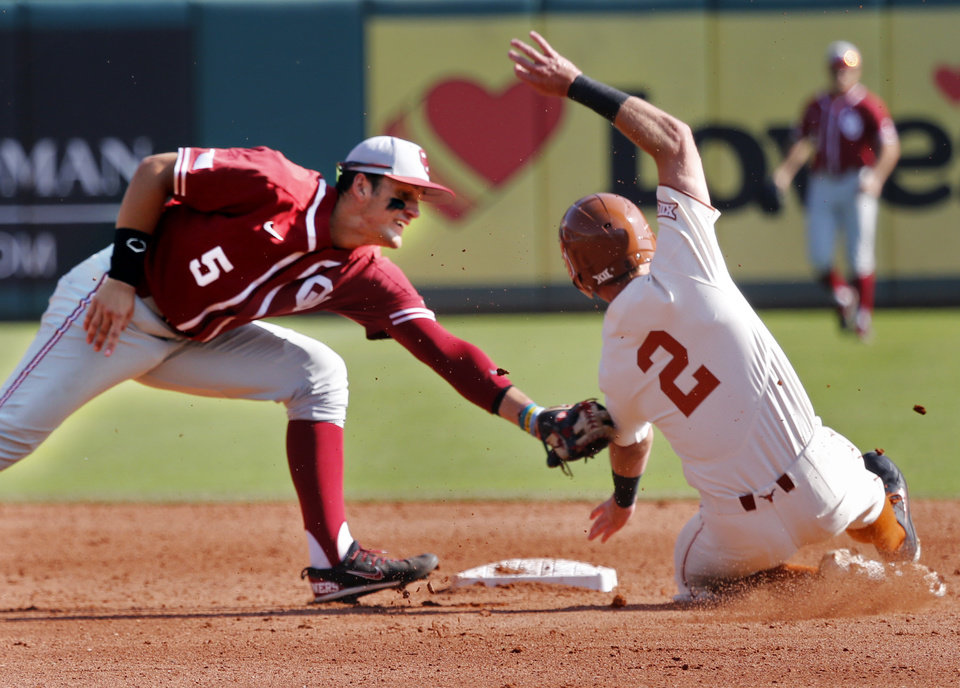 Photo - Texas infielder Kody Clemens is out at second with the tag by Oklahoma infielder Kyle Mendenhall as the University of Oklahoma Sooners (OU) play the University of Texas Longhorns (UT) in the Big 12 Baseball Championship at the Chickasaw Bricktown Ballpark in Oklahoma City, on Thursday, May 24, 2018 in Oklahoma City, Okla.  Photo by Steve Sisney, The Oklahoman