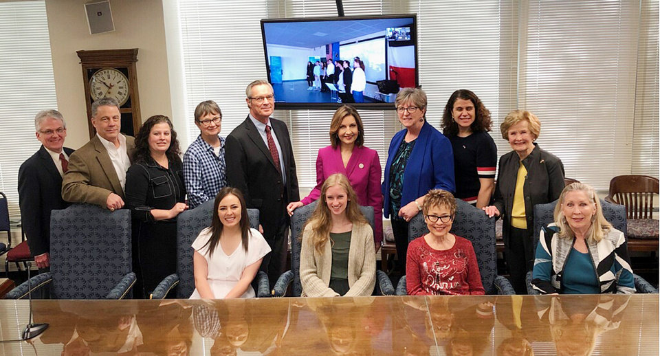 Photo - Grant Moak, Charles Glenn, Judy Glenn, Sally Ziebell, Tom Ziebell, Superintendent Joy Hofmeister, Desa Dawson, Catherine Webster, Barbara Thompson, back; Lyndsey Speer, Samantha Michael, Anne Chamberlain, Chris Morriss, front. PHOTO PROVIDED