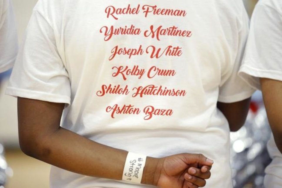 Photo -  Names of students that were truck by a pickup truck Monday are seen on a T-shirt of a Moore girls basketball player. [Bryan Terry/The Oklahoman]