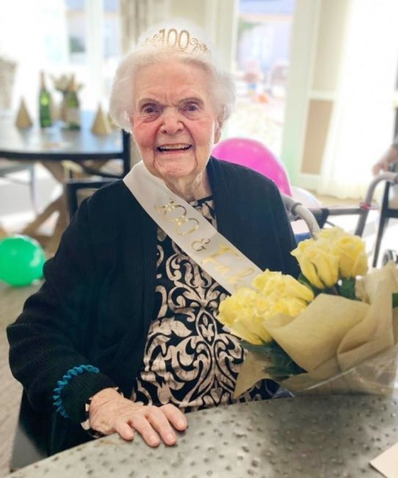 Photo -  Betty Geis celebrates her 100th birthday with friends and family at the Villagio of Oklahoma City, where she lives. [PROVIDED]