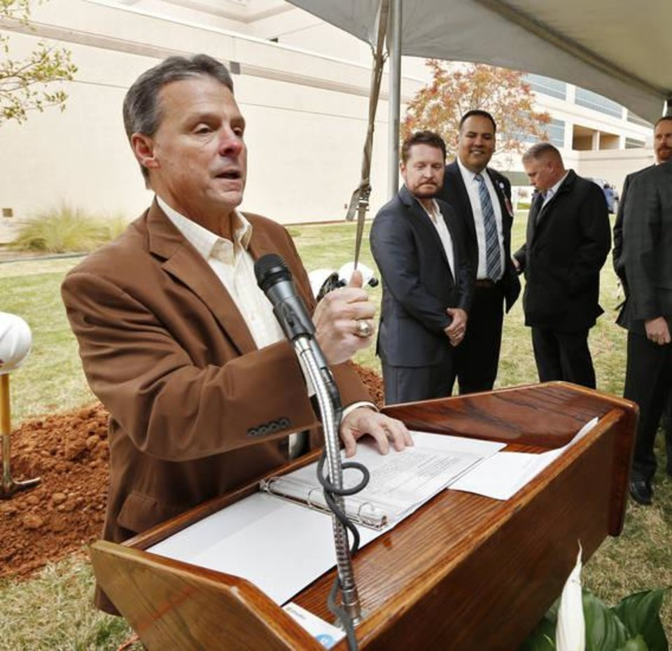 Photo -  David Whitaker, chief administrative officer of Mercy West Communities, thanks guests and participants Tuesday who attended the blessing and groundbreaking of the Oklahoma Heart Hospital and Mercy Hospital South expansion. [Photo by Steve Sisney, The Oklahoman]