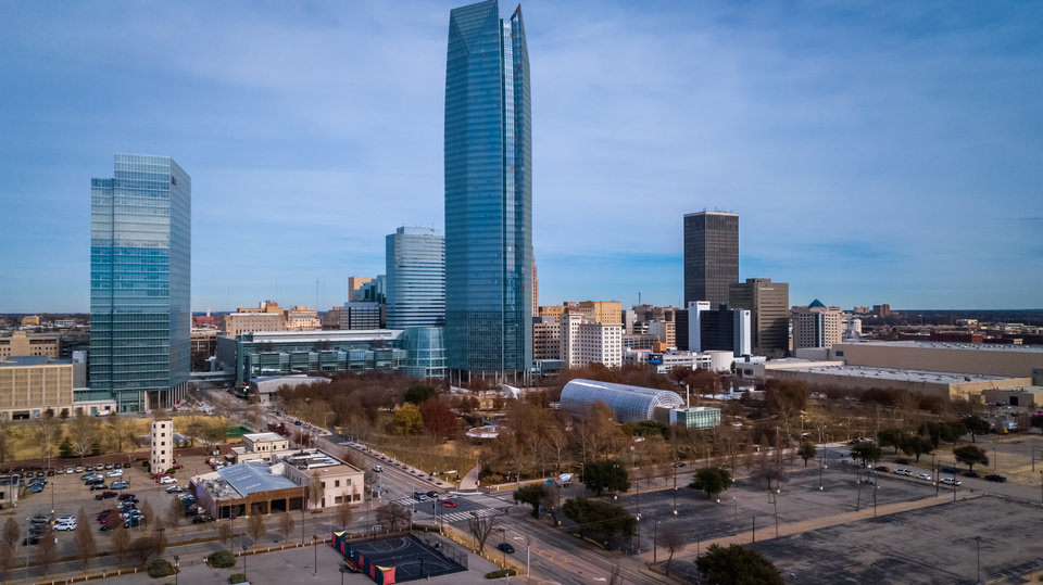 Photo - Drone image of downtown OKC skyline. Image by Dave Morris.