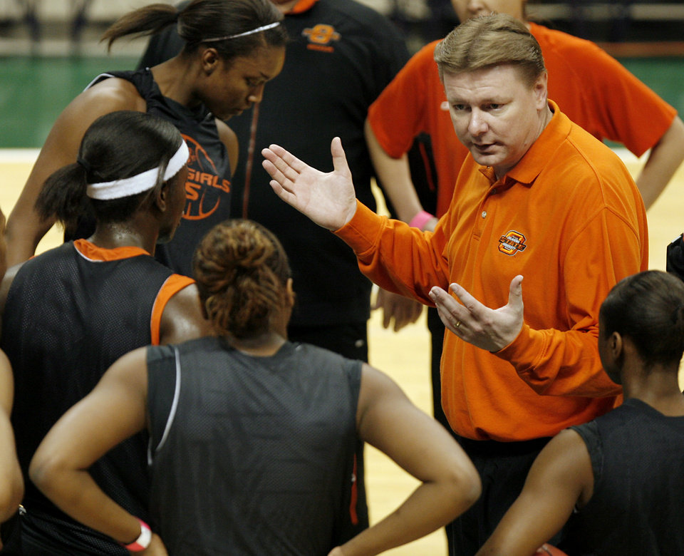 Photo - Oklahoma State University coach Kurt Budke talks to his team during practice day for the first round of the women's NCAA basketball tournament in the Jack Breslin Arena at Michigan State University on Saturday, March 17, 2007, in East Lansing, Mich.   staff photo by CHRIS LANDSBERGER