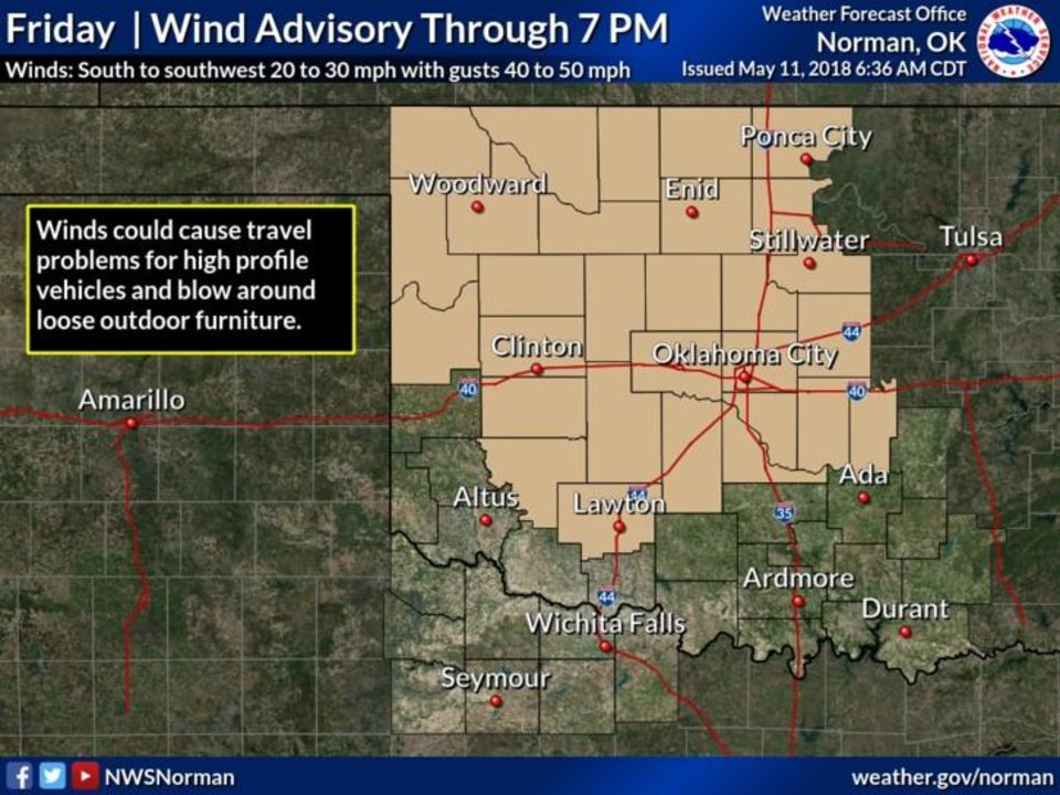 Oklahoma Wind Map.Windy Friday High Near 87 In Oklahoma City