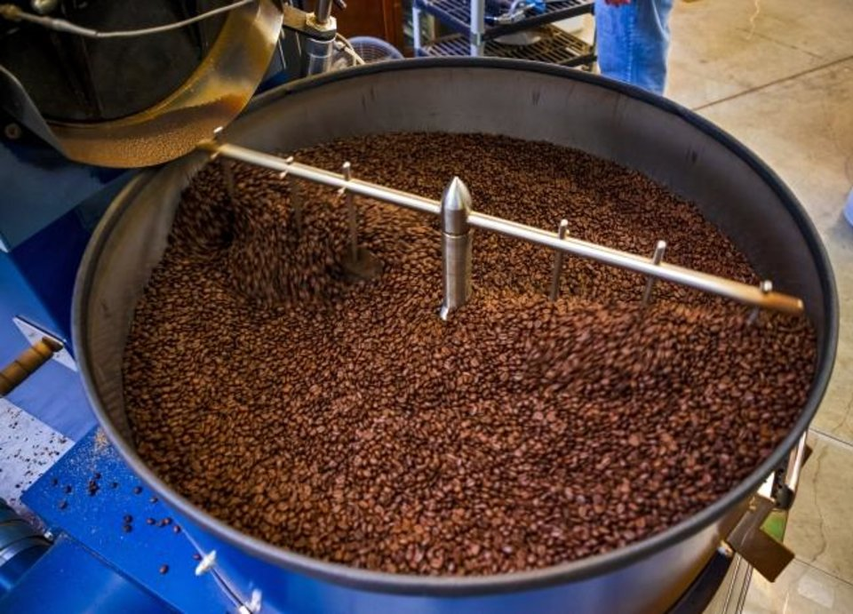 Photo -  Coffee beans fresh from the roaster at LEAP Coffee Roasters on Monday, Jan. 27, 2020, in Oklahoma City, Okla.   [Chris Landsberger/The Oklahoman]