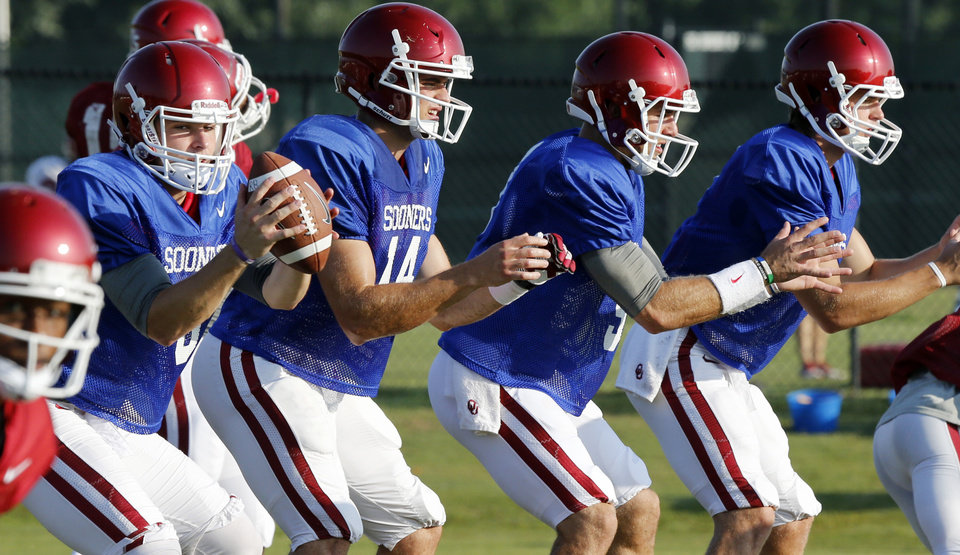 Photo - Baker Mayfield, left, is Jason Kersey's projected starter at quarterback for OU. Photo by Steve Sisney, The Oklahoman