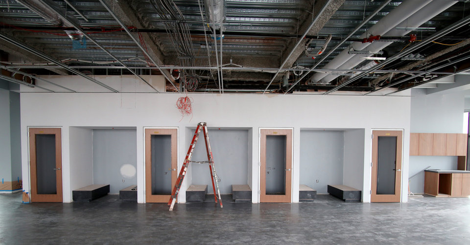 Photo - 7th floor offices. Heartland building progress in downtown at 5th and Broadway, Wednesday, May 13, 2020. [Doug Hoke/The Oklahoman]