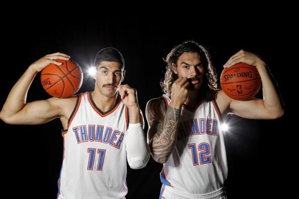 Photo -  Enes Kanter, left, and Steven Adams were the Stache Bros. in Oklahoma City prior to the Thunder trading Kanter to the Knicks for Carmelo Anthony in September 2017. [Bryan Terry/The Oklahoman]