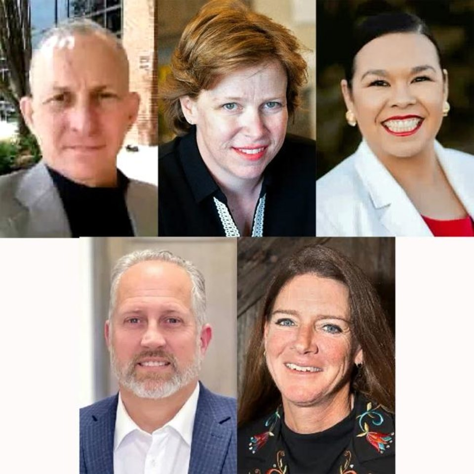 Photo -  Five of the six OKC Ward 3 candidates, from left, Allen Swanda, Barbara Young, Jessica Martinez-Brooks, (and bottom row) Tim Long and Kelli Payne.