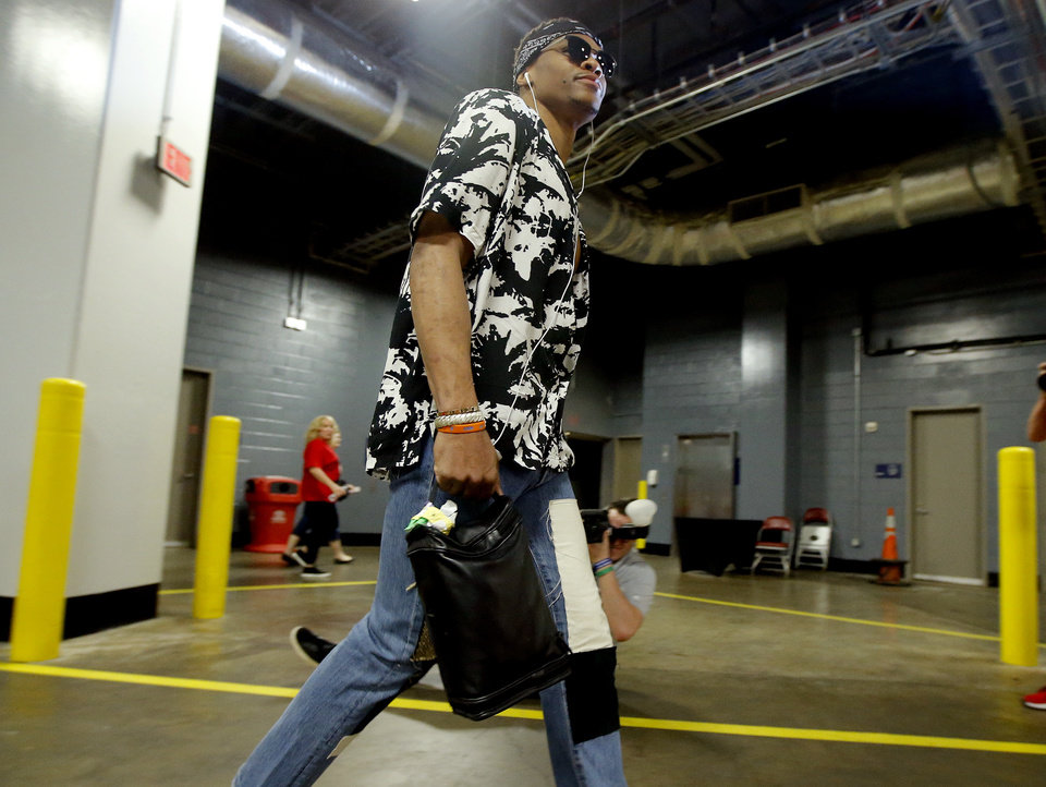 Photo - Oklahoma City's Russell Westbrook (0) arrives for before Game 2 in the first round of the NBA playoffs between the Oklahoma City Thunder and the Houston Rockets in Houston, Texas,  Wednesday, April 19, 2017.  Photo by Sarah Phipps, The Oklahoman