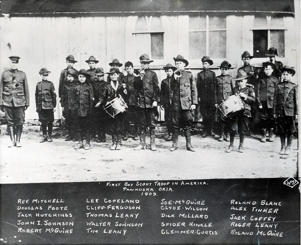 Photo - SCOUTING: Boy Scout troop in Pawhuska, 1909    (Original photo published 5/8/1960 in The Daily Oklahoman)    ORG XMIT: 0707312230485287